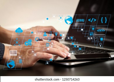 Coding software developer work with AR new design dashboard computer icons of scrum agile development and code fork and versioning with responsive cybersecurity.businessman hand working.