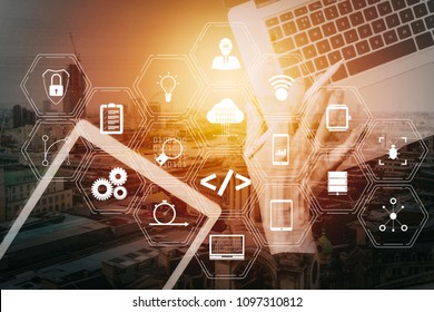 Coding software developer work with augmented reality dashboard computer icons of scrum agile development and code fork and versioning with responsive cybersecurity.Businessman hand working