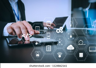 Coding software developer work with augmented reality dashboard computer icons of scrum agile development and code fork and versioning with responsive cybersecurity.businessman working smart phone.