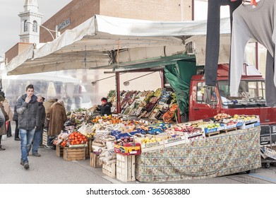Codroipo,Udine,Italy  - January 19 2016 : People shop at local market in local market in Nord Est of Italy.