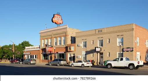 CODY, WYOMING - JUNE 23, 2017: The Irma Hotel. Built by William F. Buffalo Bill Cody, the city's co-founder and namesake who named it after his daughter Irma Cody.