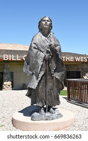 CODY, WYOMING - JUNE 24, 2017: Statue of Sacagawea at the Center of the West. A complex of five museums and a research library featuring natural history, art and artifacts of the American West.