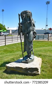 CODY, WYOMING - JUNE 24, 2017: Statue of The Bird Woman - Sacagawea at the Center of the West. A complex of five museums and a research library featuring artifacts of the American West.