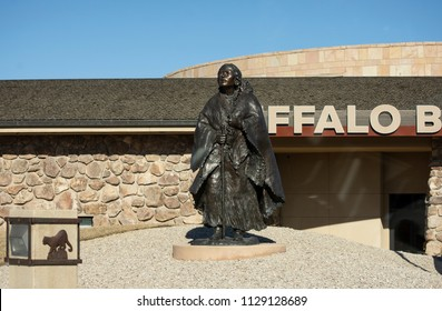 CODY, WYOMING - MAR 13, 2018 : Sculture of Sacagawea and baby at The Buffalo Bill Center of The West, in Cody, Wyoming.