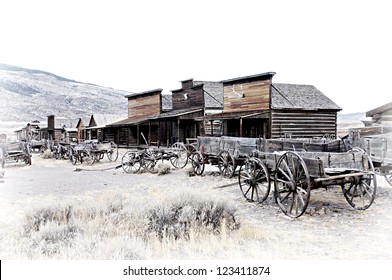Cody, Wyoming, Old Wooden Wagons in a Ghost Town, United States