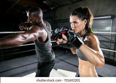 Coed boxing gym training class focused on high intensity martial arts training and aerobics