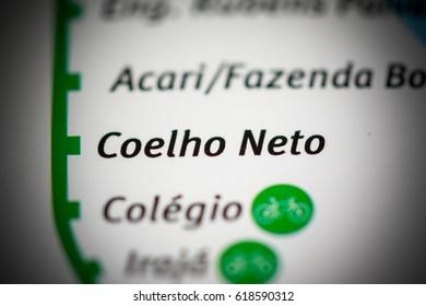 Coelho Neto Station. Rio de Janeiro Metro map.