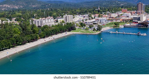 Coeur d' Alene, Idaho - August 12: Aerial view of the beach with families enjoying the sunshine and lake. August 12 2016, Coeur d' Alene, Idaho.
