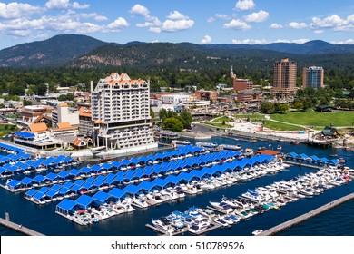 Coeur d' Alene, Idaho - August 12: Aerial view of The Coeur d' Alene resort and Marina. August 12 2016, Coeur d' Alene, Idaho.