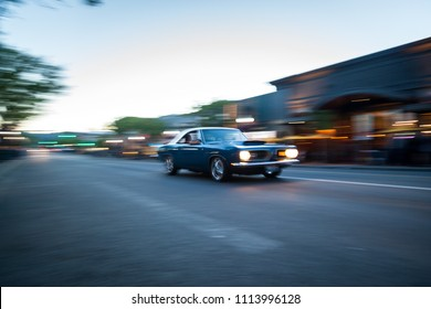 Coeur d' Alene, Idaho - June 15: Panning on classic vehicles cruising downtown on Sherman Ave for the annual car show. June 15 2018, Coeur d' Alene, Idaho.