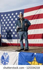 "COEUR D""ALENE, IDAHO - JANUARY 19:Idaho state Representative Vito Barbieri speaks to the crowd during the pro 2nd amendment rally in Coeur d'Alene, Idaho on January 19, 2013."