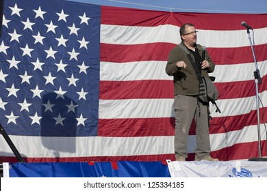 "COEUR D""ALENE, IDAHO - JANUARY 19:Stewart Rhodes, founder of oathkeepers, speaks to the crowd during the pro 2nd amendment rally in Coeur d'Alene, Idaho on January 19, 2013.."