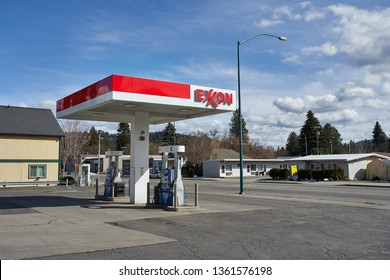 Coeur d'Alene, Idaho - Mar 26, 2019: An Exxon gas station.