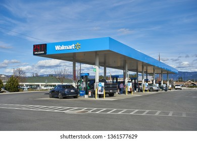 Coeur d'Alene, Idaho - Mar 26, 2019: A Walmart gas station.