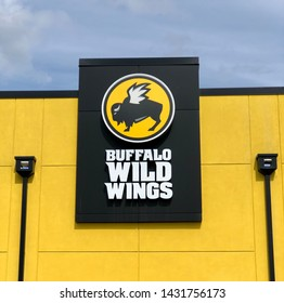 Coeur d'Alene, ID/USA -June 2019 - Exterior sign at a Buffalo Wild Wings restaurant location. Buffalo Wild Wings is an American casual dining restaurant chain.