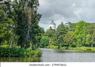 Coevorden, The Netherlands, July 28, 2020: view of the park on the ramparts, all that's left of the once impressive fortifications, with in the background the water tower