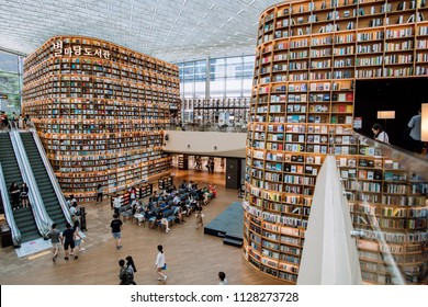 COEX Mall in Seoul, South Korea - June 25, 2018 : Starfield Library as the latest attraction within Seoul and library is open to the public free.