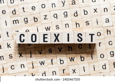 Coexist word concept on cubes