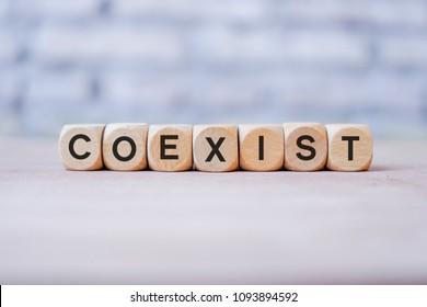 Coexist word written on wood block