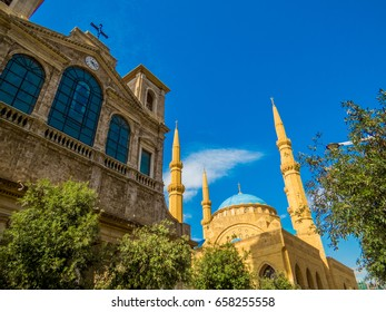 Coexistence of religions in Lebanon - Saint George Maronite Greek Orthodox Cathedral and the Mohammad Al-Amin Mosque