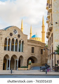 Coexistence of religions in Lebanon: Saint George Greek Orthodox Cathedral in the foreground and Mohammad Al-Amin Mosque in the background.