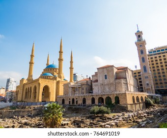 Coexistence of religions in Lebanon - Saint George Maronite Greek Orthodox Cathedral and the Mohammad Al-Amin Mosque.
