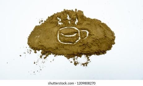 Coffe powder on white background, is a beverage derived from brewed coffee beans