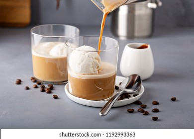 Coffee affogato with vanilla ice cream and espresso