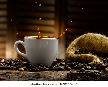 coffee in all its forms, rustic setting with coffee beans and sugar cubes
