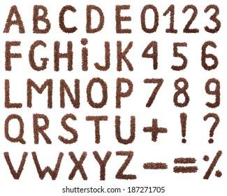 Coffee Alphabet isolated on white