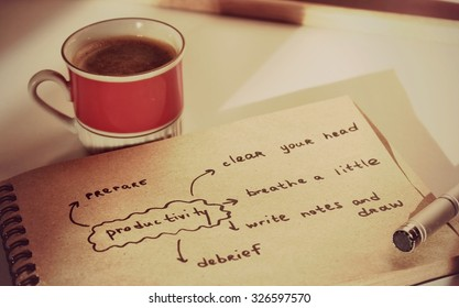 Coffee background or Coffee break, Good morning, Good day, Notes, New day, Coffee pause, Productivity, Coffee cup, Planning for future, Planning, Prepare, Happy day, Lucky day, New day, Coffee art