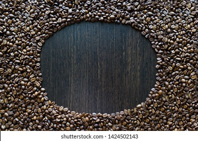 coffee background. circle coffee beans. mock up, soft focus, copy space, flat flay.