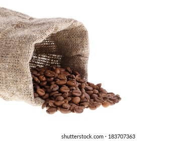 Coffee background with grains and empty space isolated