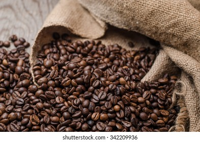 coffee background with grains and empty space,horizontal photo