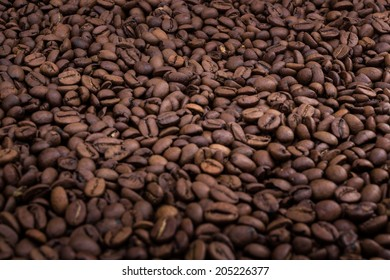 Coffee background with selective focus.