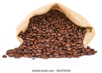Coffee bag - coffee beans in canvas coffee sack isolated on white background