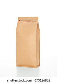 Coffee Bag, Box Pouch with Pocket Zip & Valve, Kraft Finished, with Valve