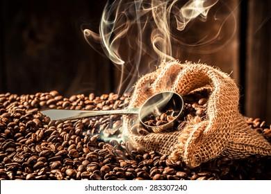 Coffee bag full of aroma roasted seeds