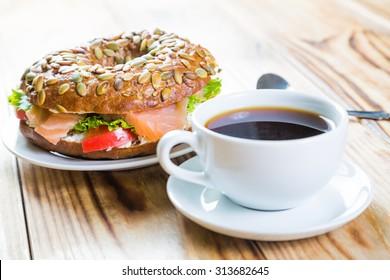Coffee and bagel breakfast