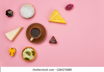 Coffee and bakery – sweets, tarts and cheesecakes on pink background, top view. Copy space for your text.
