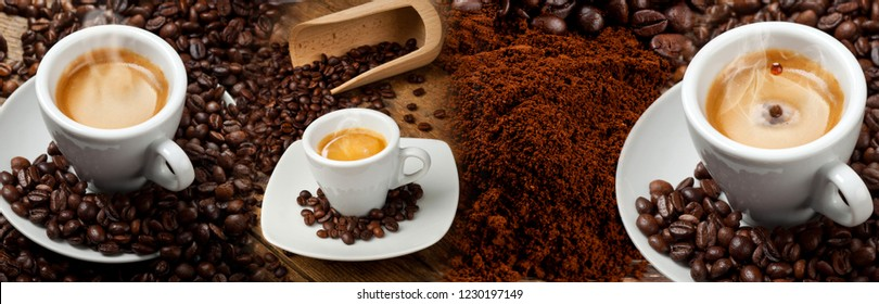 Coffee Banner Collage with espresso, croissant and coffee beans.