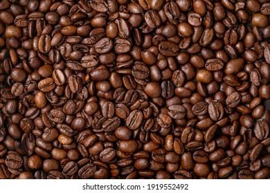 Coffee bean background, roast grain