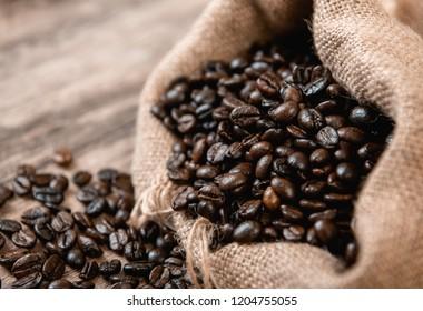 coffee bean bag on wood background
