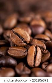 Coffee bean border on an old wood
