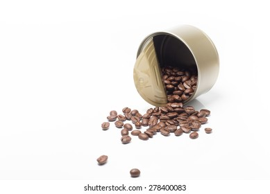 coffee bean in can isolated on white