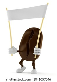Coffee bean character holding blank banner isolated on white background. 3d illustration
