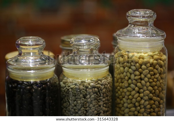 Coffee Bean Glass Jar Green Coffee Stock Photo Edit Now 315643328