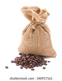Coffee bean jute sack on isolated white background