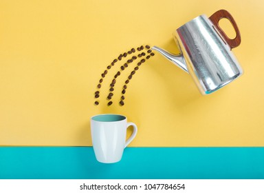 coffee bean on color background