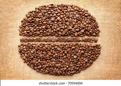 Coffee Bean on fabric texture background